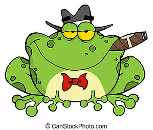 Frog Smoking A Cigar On A Wood Sigh - Frog Cartoon Mobster...