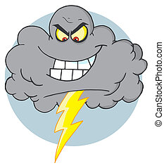 Cartoon Black Cloud With Lightning - Evil Storm Cloud With...