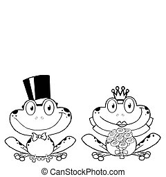 Outline Of A Frog Bride And Groom - Outlined Bride and Groom...