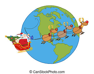 Santa In His Sleigh Flying Around A Globe