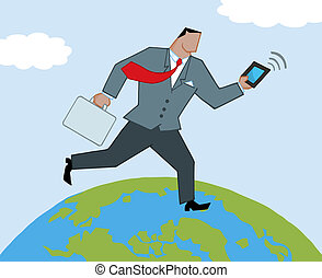 Businessman Running On A Globe
