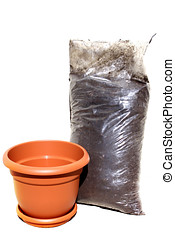 Flower pot and soil - Brown plastic flower pot and bag of...