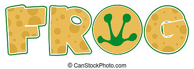 Frog Font Text  - Frog Print In The O Of The Word FROG