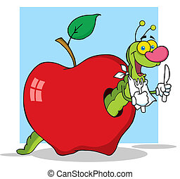 Worm In Apple With Background - Happy Cartoon Worm In Apple...