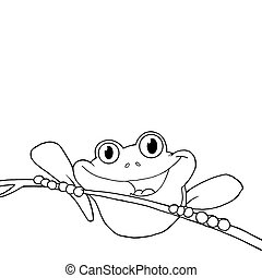Outlined Frog On A Twig