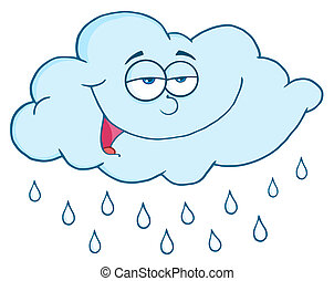 Cloud With Rain Drops - Happy Cloud Raining Mascot Cartoon...