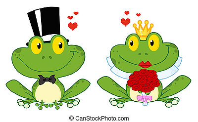 Frog Bride And Groom - Bride and Groom Frogs Cartoon...