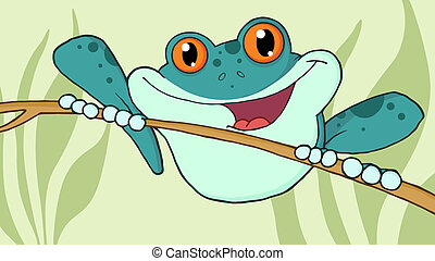 Wild Blue Frog On A Twig