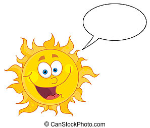 Happy Sun Talking - Happy Sun Mascot Cartoon Character With...
