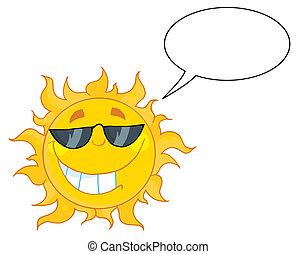 Cool Sun Wearing Shades And Talking - Smiling Sun Mascot...