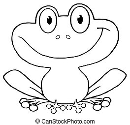 Outlined Smiling Frog - Outlined Cute Frog Cartoon Character