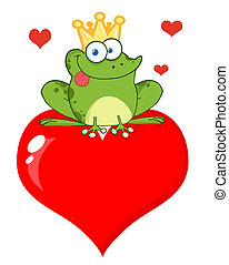 Frog Prince On A Red Heart - Happy Frog Prince Over Red...