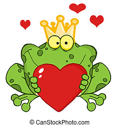 Frog Prince Holding A Heart