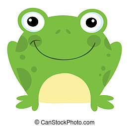 Smiling Frog - Head Frog Cartoon Character