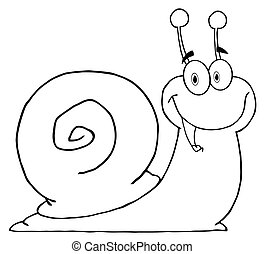 Outlined Happy Cartoon Snail