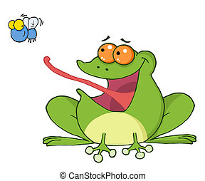 Frog Catching A Fly - Frog And Fly Cartoon Character