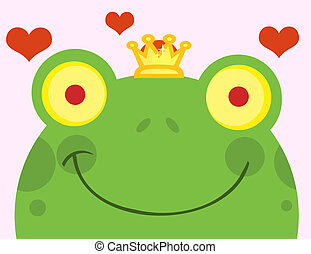 Smiling Frog Prince Face - Frog Prince Cartoon Character...
