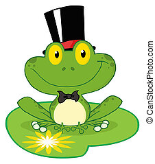 Frog Groom On A Lilypad - Groom Frog Cartoon Character On A...
