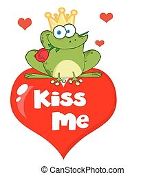 Frog Prince Over Red Heart - Frog Prince Sitting On A Kiss...