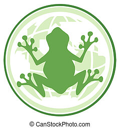 Frog In Earth Banner - Green Frog On A Globe Logo