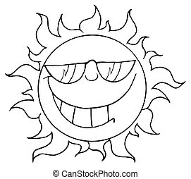 Outlined Smiling Sun Mascot Cartoon Character With...