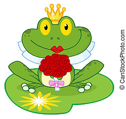 Frog Bride On A Lilypad - Bride Frog Cartoon Character On A...