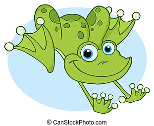 Happy Frog Hopping Frog  - Leaping Green Frog Over Blue