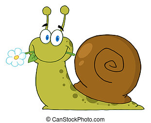Happy Cartoon Snail With A Flower In Its Mouth