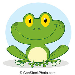 Smiling Green Frog - Smile Frog Cartoon Character