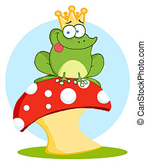 Frog Prince On A Toadstool - Frog Prince Sitting On A...