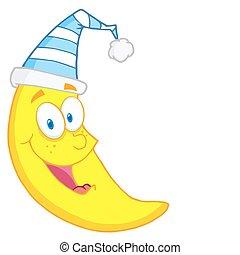 Happy Moon Mascot Cartoon Character