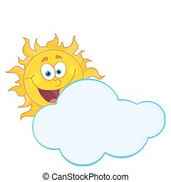 Happy Sun Hiding Behind Cloud - Happy Sun Smiling Behind A...