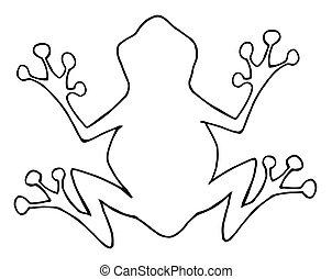 esquissé, grenouille, silhouette