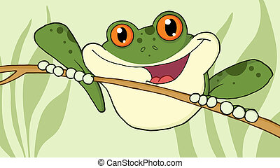 Wild Green Frog On A Twig