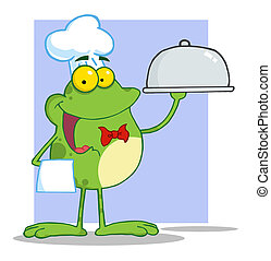 Frog Holding A Platter Over Purple - Frog Chef Serving Food...