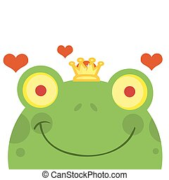 Frog Prince Face With Hearts - Frog Prince Cartoon Character...