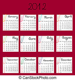2012 calendar on red background