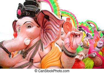 Ganeshas - Colorful Ganesha statues ready for Ganesh...