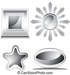 Black and White Shiny Icon Set - An image of a four glossy...