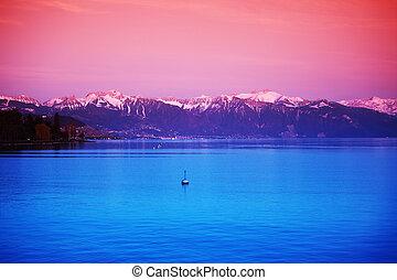 lake geneva landscape on sunrise