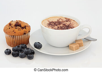 Cappuccino, Muffin and Blueberries - Cappuccino cup and...