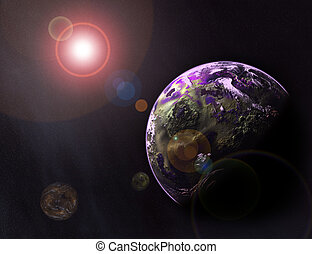 Planetarium - 3d illustration of space, stars, earth and...