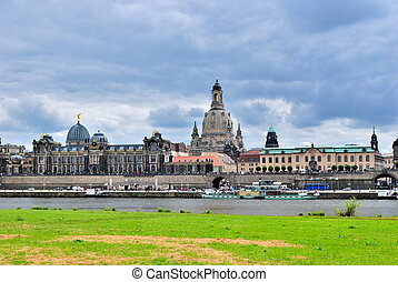 Dresden. View of Elbe and Bruhl terrace - Dresden. Old Town....