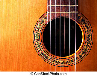 spanish guitar - Frontal close up image of spanish guitar...