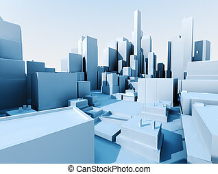 3d cityscape - 3D image of city landscape with skyscraper