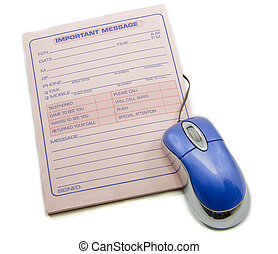 Important message memo pad and computer mouse - An important...
