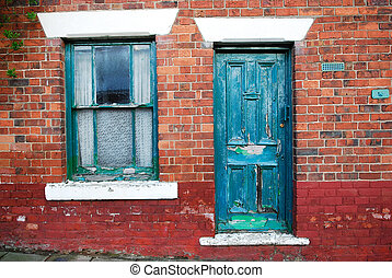 Old Wooden Door and Window. - The front view of an old...
