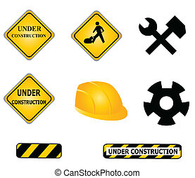 Construction signs and tools icon set