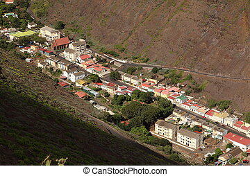 Jamestown on St Helena Island - Showing the top third known...