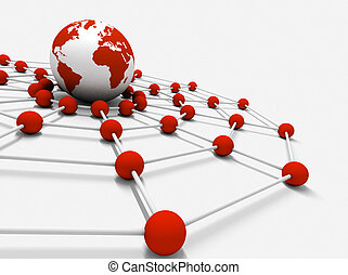 networking - Concept of internet and networking with globe...